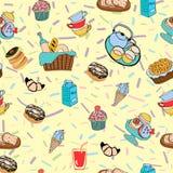 Hand-dragen tecknad filmbakgrund med mat- och drinkbeståndsdelar, bre Arkivbilder