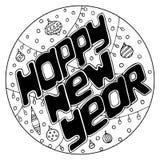Hand-dragen text för lyckligt nytt år i en rund ram vektor illustrationer