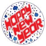 Hand-dragen text för lyckligt nytt år i en rund ram royaltyfri illustrationer
