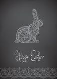 Hand-dragen typografi för påskfolkprydnad kanin Arkivfoton