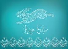 Hand-dragen typografi för påskfolkprydnad kanin Royaltyfri Fotografi