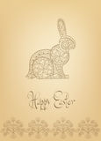 Hand-dragen typografi för påskfolkprydnad kanin Royaltyfri Bild