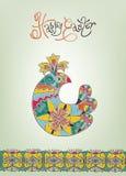 Hand-dragen typografi för påskkort etnisk fågelunge Royaltyfria Bilder
