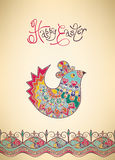 Hand-dragen typografi för påskkort etnisk fågelunge Fotografering för Bildbyråer