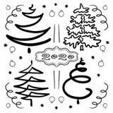 Hand-dragen uppsättning av abstrakta julgranar Gemkonst för designferier nytt år och jul Svarta konturer, linjer vektor illustrationer