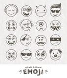 Hand dragen uppsättning av Emoticons Arkivfoton