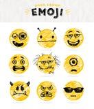 Hand dragen uppsättning av Emoticons Arkivfoto