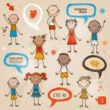 Hand-dragen uppsättning för barnanförandebubblor Stock Illustrationer