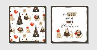 Hand dragen uppsättning för samling för kort för illustration för tecknad film för tid för glad jul för vektorabstrakt begrepp ro royaltyfri illustrationer