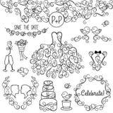 Hand dragen uppsättning för vektor för klotterstilbröllop med klänningen, smoking stock illustrationer