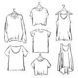 Hand dragen uppsättning för vektorkvinnakläder Modesamlingsöversikt Royaltyfri Fotografi