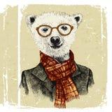 Hand dragen utklädd hipsterbjörn i exponeringsglas royaltyfri illustrationer