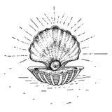 Hand dragen vask med en pärla Tatueringtema Vektorn skissar illustrationen royaltyfri illustrationer