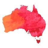 Hand dragen vattenfärgöversikt av Australien på vit americanen dekorerar version för vektor för set symboler för design patriotis royaltyfri illustrationer
