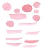 Hand dragen vattenfärg för rosa färgmålarfärgpenseldrag Arkivfoto