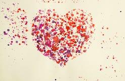 Hand dragen vattenfärgbild av en hjärta Arkivfoto