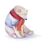 Hand dragen vattenfärgbjörn royaltyfri illustrationer