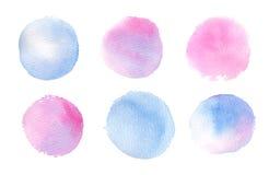 Hand dragen vattenfärgillustration Blått- och rosa färgabstrakt begreppvatten royaltyfri illustrationer