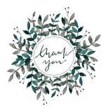 Hand dragen vattenfärgkrans Tacka dig att card med sidor och filialer Vattenfärg som är klar att använda kortet datumet sparar royaltyfri illustrationer
