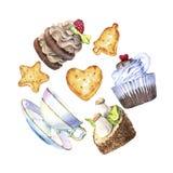 Hand dragen vattenfärguppsättning av kakor, kex och tekoppar Arkivbild