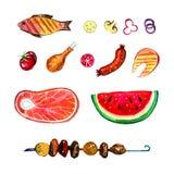 Hand dragen vattenfärguppsättning av mat för picknick, sommar som ut äter, och grillfest Royaltyfri Fotografi