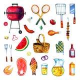Hand dragen vattenfärguppsättning av olika objekt för picknick, sommar som ut äter, och grillfest vektor illustrationer