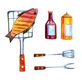Hand dragen vattenfärguppsättning av olika objekt för picknick, sommar som ut äter, och grillfest - fisk och såser Royaltyfri Bild