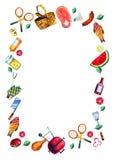 Hand dragen vattenfärguppsättning av olika objekt för picknick, sommar som ut äter, och grillfest i vertikal rektangulär ram vektor illustrationer