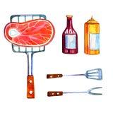 Hand dragen vattenfärguppsättning av olika objekt för picknick, sommar som ut äter, och grillfest - kött och såser Royaltyfria Foton