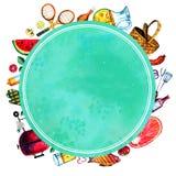 Hand dragen vattenfärguppsättning av olika objekt för picknick, sommar som ut äter, och grillfest med rundagräsplanramen Arkivfoton
