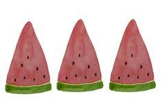 Hand dragen vattenf?rgvattenmelonskiva som bakgrund ?r kan den anv?nda illustrationsommaren Vattenmelondesignbest?ndsdel, mall f? royaltyfria bilder