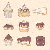 Hand dragen vektorbakelseuppsättning med kaka- och pajstycken, muffin, vektor illustrationer