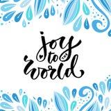Hand dragen vektorbokstäver glädje till världen Modern kalligrafi för ferie Hälsningkort eller affisch stock illustrationer