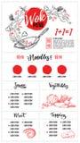 Hand dragen vektorillustration - asiatisk mat Woka menyn med calli vektor illustrationer