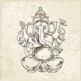 Hand dragen vektorillustration av att sitta Lord Ganesha Arkivfoto