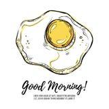 Hand dragen vektorillustration - bra morgon! Förvanskade ägg royaltyfri illustrationer