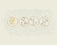 Hand dragen vektorillustration för 2014 nummer Royaltyfria Bilder