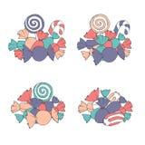 Hand dragen vektoruppsättning av marshmallower och slågna in godishögar vektor illustrationer