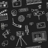 Hand dragen video blogging uppsättning för klotter Arkivbilder