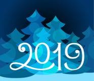 Hand dragen vintervektorillustration 2019 royaltyfri illustrationer