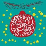 Hand-dragen vykort med den glade julen för ord Arkivfoto