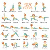 Hand-dragen yogaungeuppsättning royaltyfri illustrationer