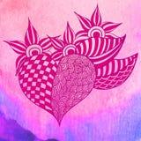 Hand dragen Zentangle hjärta mörk paper vattenfärgyellow för forntida bakgrund Royaltyfria Bilder