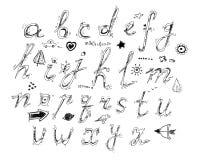 Hand dragit alfabet Royaltyfri Bild