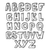 Hand dragit alfabet 3D Royaltyfria Foton