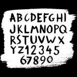 Hand dragit alfabet med numbet stock illustrationer
