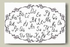Hand dragit alfabet som är skriftligt med borstepennan Full version Royaltyfri Fotografi