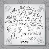 Hand dragit alfabet som är skriftligt med borstepennan Full version Royaltyfri Bild