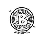 Hand dragit Bitcoin klotter, en hand dragen vektorklotterillustration av en bitcoin royaltyfri illustrationer