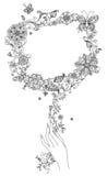 Hand-dragit blom- tecken Royaltyfri Fotografi